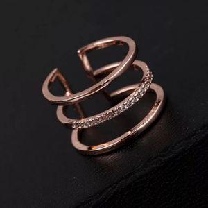 NEW ROSE GOLD TRIPLE DIAMOND BAND RESIZEABLE RING